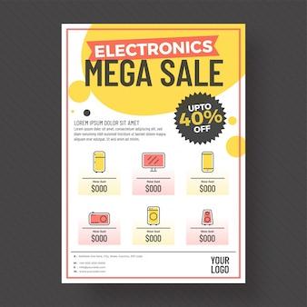 40% angebot von elektronik mega sale vorlage oder flyer.