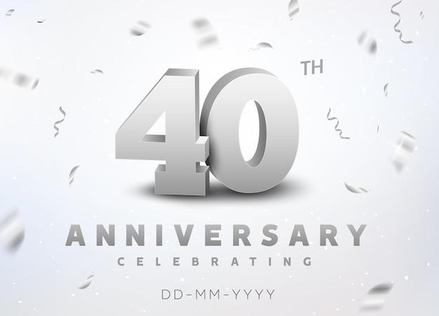40 jahre silberzahl jubiläumsfeier. jubiläumsbanner-zeremonie-design für das alter von 40 jahren.