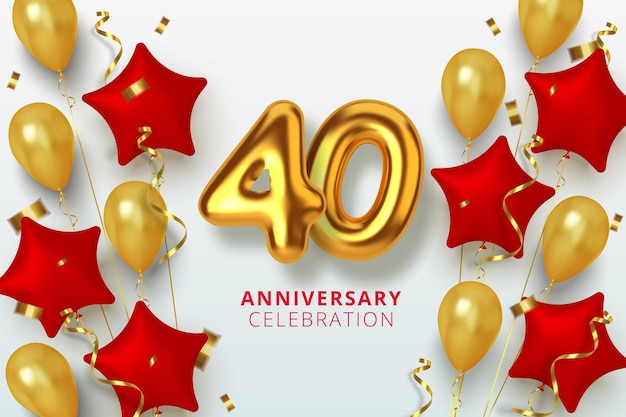 40 jubiläumsfeier nummer in form eines sterns aus goldenen und roten luftballons. realistische 3d-goldzahlen und funkelndes konfetti, serpentin.