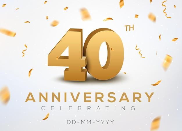40 jubiläumsgoldzahlen mit goldenem konfetti. feier zum 40-jährigen jubiläum
