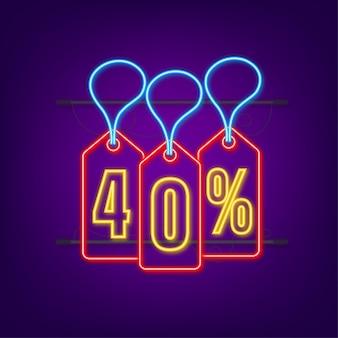 40 prozent rabatt sale rabatt neon-tag rabattangebot preisschild 40 prozent rabatt
