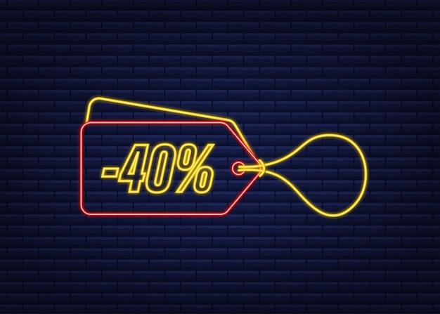 40 prozent rabatt sale rabatt neon-tag rabattangebot preisschild