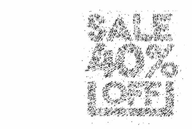 40% rabatt auf den sale-rabatt-partikel-design-banner. rabattangebot preisschild. vektor-moderne aufkleber-illustration.