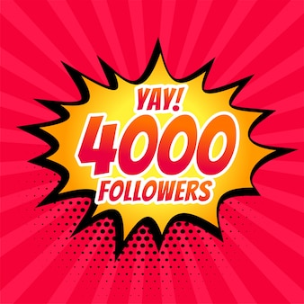 4000 social-media-follower posten im comic-stil