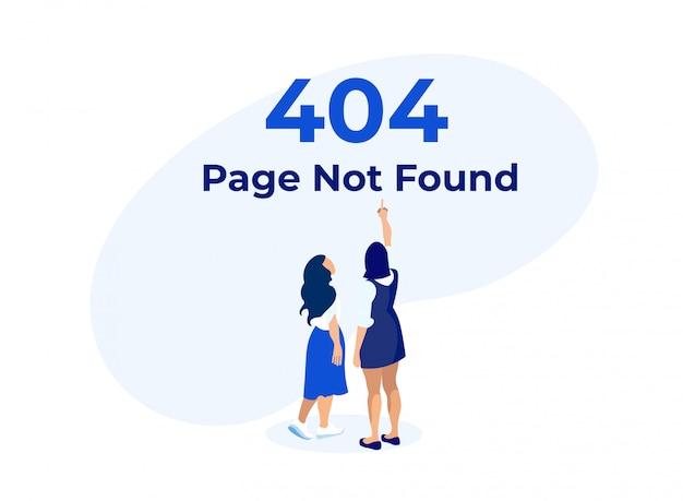 404 fehler mit frauen, die auf warnbanner zeigen.