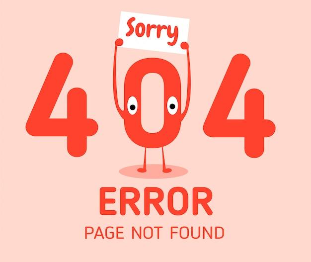 404 fehler mit zeichen null fehler designvorlage für die website