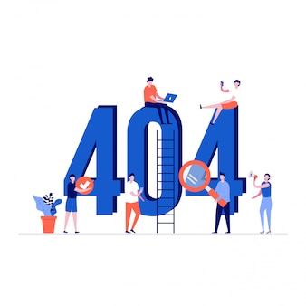 404 fehlerillustrationskonzept mit zeichen. entschuldigung, seite nicht gefunden website-vorlage.