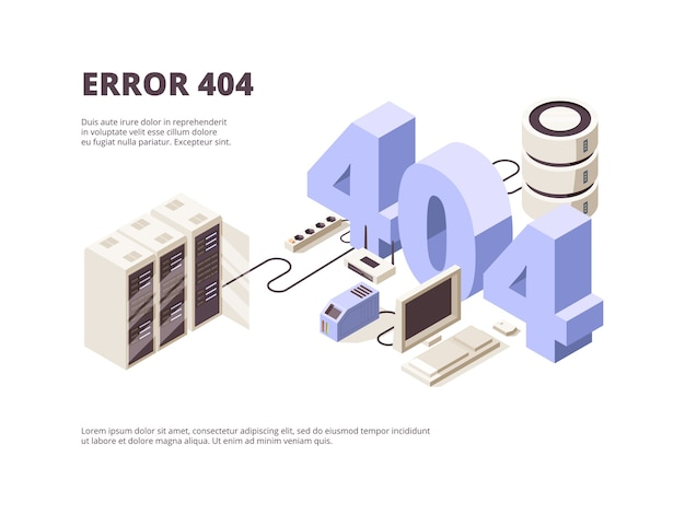 404 seite. web-technologie-fehler hosting-probleme computer server fallen landung layout isometrisch