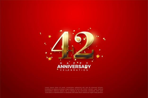 42-jähriges jubiläum mit goldenen zahlen auf rotem grund