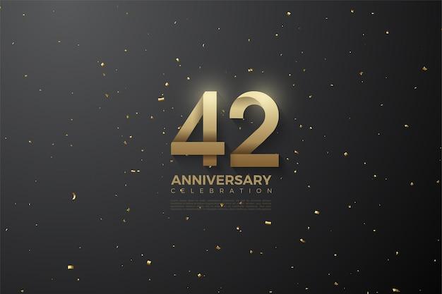 42. jahrestag mit einer nummer mit streifenmuster