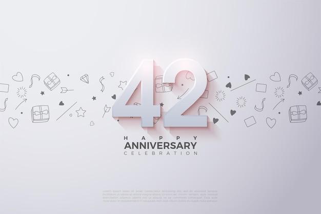 42. jahrestag mit sanft schattierten 3d-zahlen