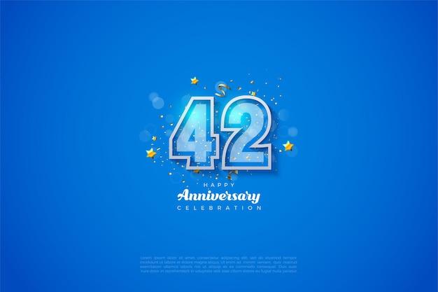 42. jubiläum mit doppeltem ziffernrahmen numeric