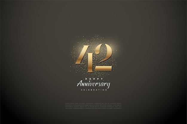 42. jubiläum mit goldenen zahlen und glitzer