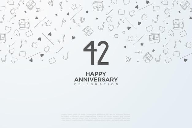 42. jubiläum mit illustrierter hintergrundillustration
