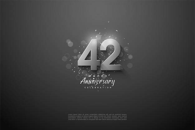 42. jubiläum mit silbernen zahlen
