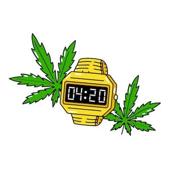 420 zeit auf goldener elektronischer uhr und weed-blättern