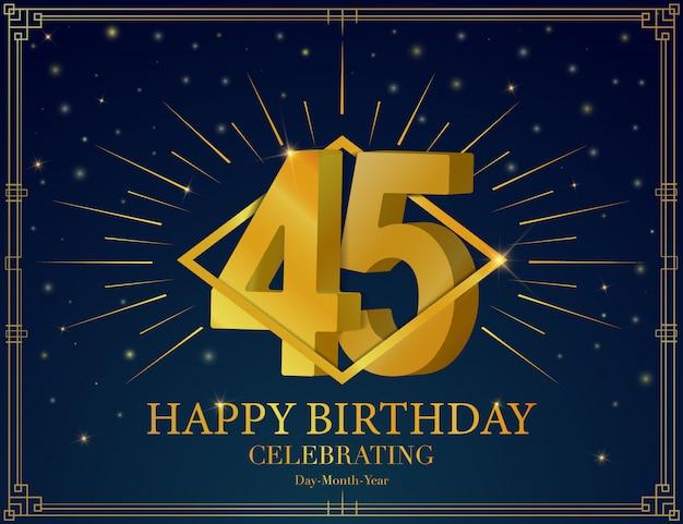 45 alles gute zum geburtstag jubiläum feier grußkarte