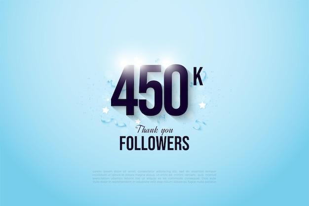 450.000 follower auf hellblauem hintergrund