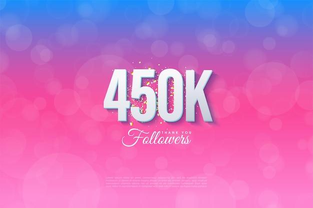 450.000 follower mit abgestuftem hintergrund