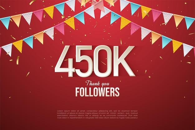 450.000 follower mit bunten zahlen und flaggen