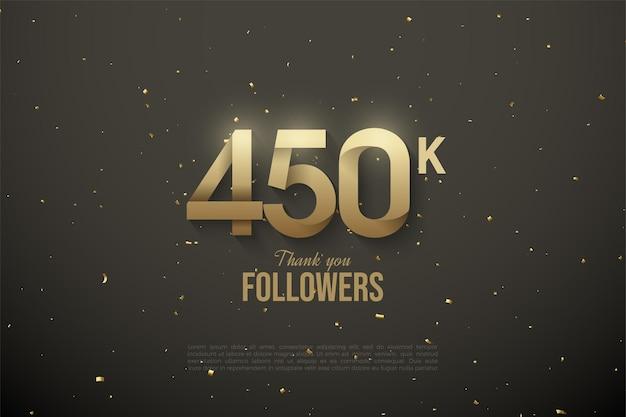 450.000 follower mit gemusterten zahlen