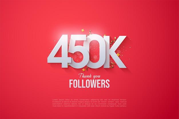 450.000 follower mit gestapelten zahlen