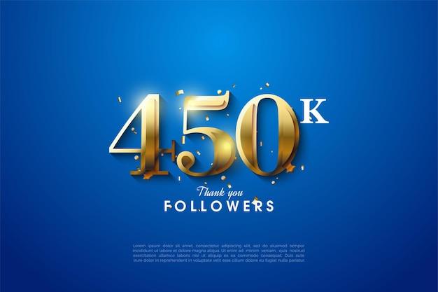 450.000 follower mit goldenen zahlen auf blauem hintergrund