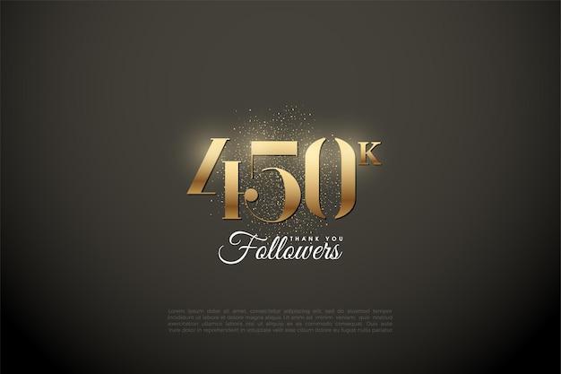 450.000 follower mit goldenen zahlen und punkten