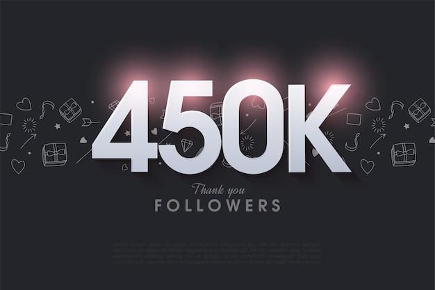 450.000 follower mit leuchtenden zahlen