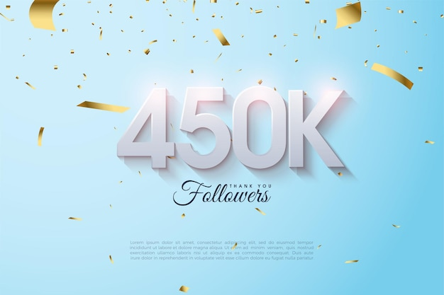 450.000 follower mit sanft schattierten zahlen