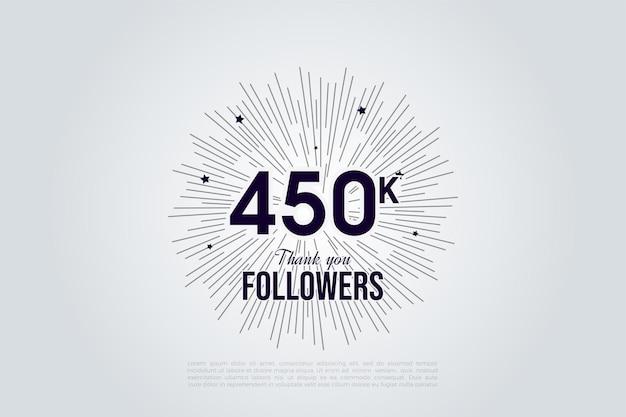 450.000 follower mit schwarzen auf weißen zahlen