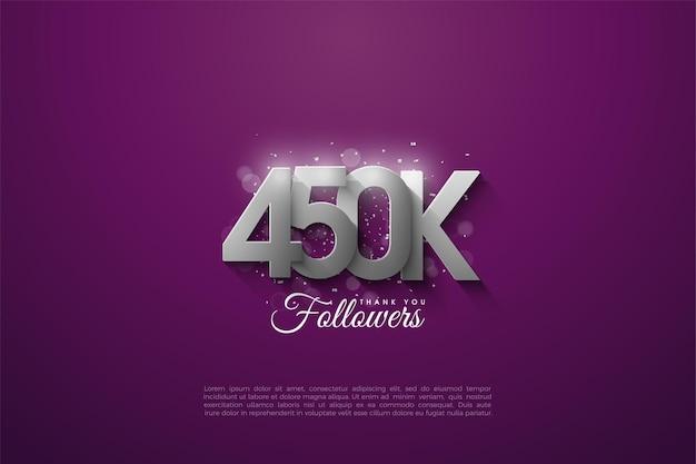 450.000 follower mit silbernen zahlen aufgetürmt