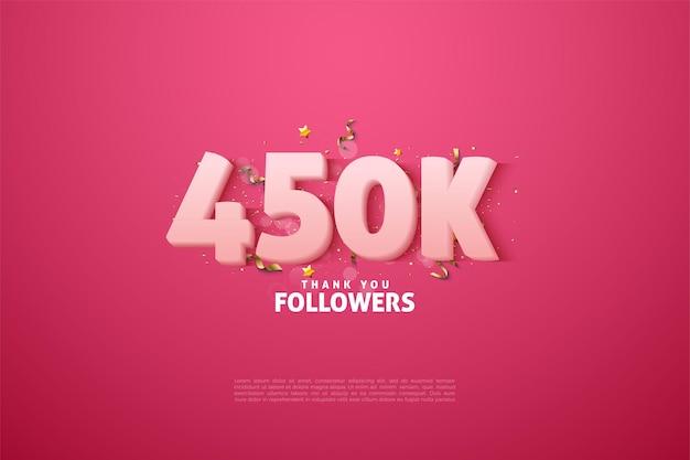 450.000 follower mit weichen weißen zahlen