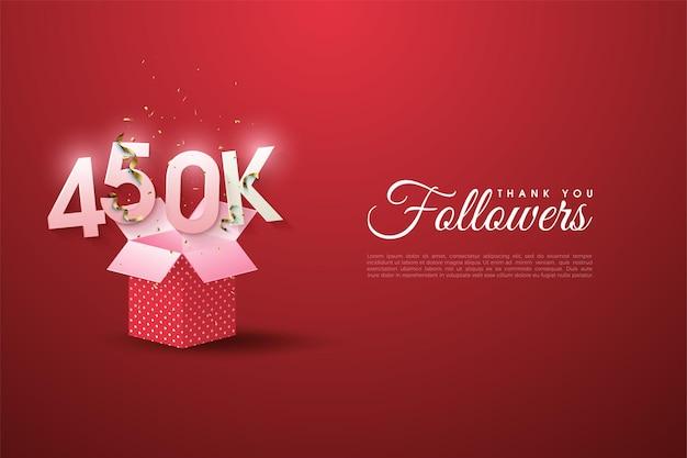 450.000 follower mit zahlen auf einer offenen geschenkbox