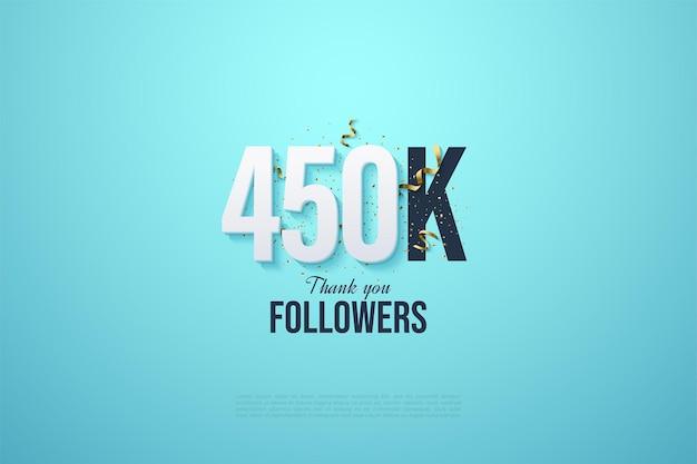 450.000 follower mit zahlen auf hellblauem hintergrund