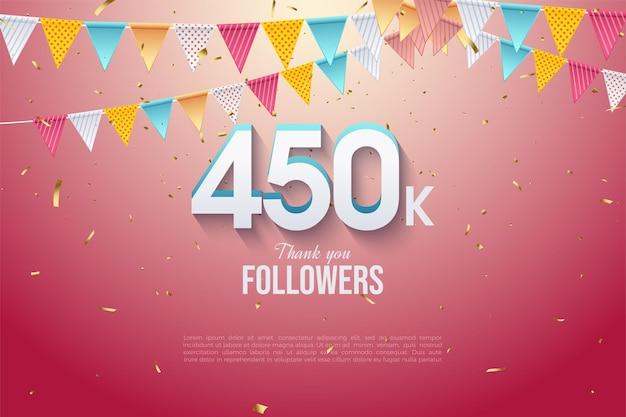 450.000 follower mit zahlen und flaggenreihen