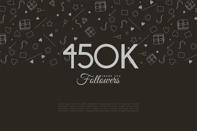 450.000 follower mit zahlen und thumbnails im hintergrund