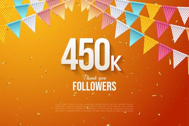 450.000 follower mit zahlen unter der flagge