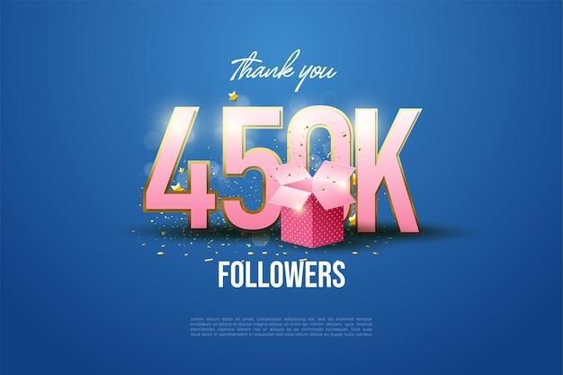 450.000 follower mit zahlenabbildung