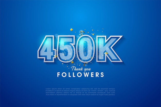 450.000 follower mit zwei zahlenrahmen