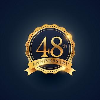 48. jahrestag feier abzeichen etikett in der goldenen farbe