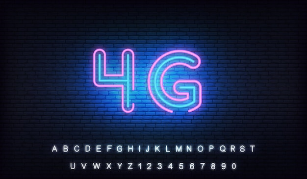 4g lte neon. leuchtendes zeichen der drahtlosen verbindung des internets 4g
