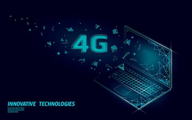 4g neue wlan-wlan-verbindung. isometrische blaue 3d-wohnung des laptop-mobilgeräts. hochgeschwindigkeits-innovationsverbindungsdatenratentechnologie für globales netzwerk