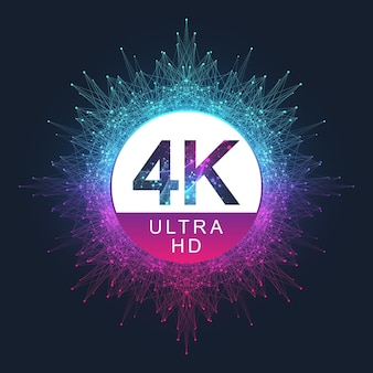 4k ultra hd-abzeichen-vektorsymbol. abstrakter farbverlauf hintergrundstil 4k uhd tv-symbol