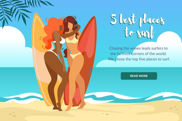 5 besten plätze zum surfen horizontal banner mit sexy girls in bikini posing