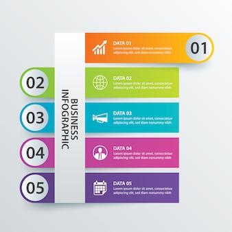 5 daten infografiken-registerkarte in der horizontalen papierindexvorlage.
