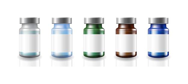 5 farben leere medizinische impfstofffläschchen aus glas weiße etiketten mit silberner metallkappe vorlage.