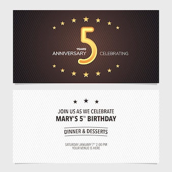 5 jahre jubiläumseinladungsillustration. design-vorlagenelement mit abstraktem hintergrund für die 5. geburtstagskarte, partyeinladung