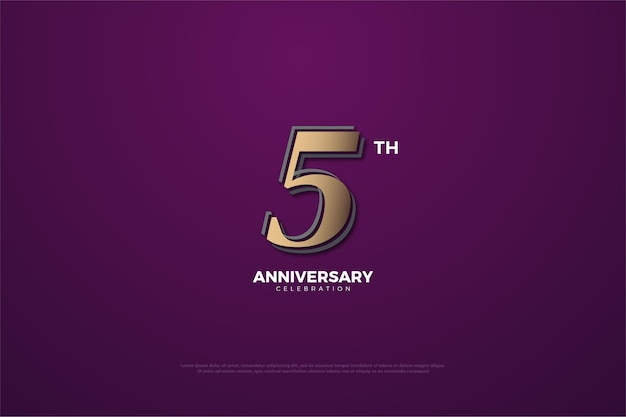 5. jahrestag mit braunen zahlen auf lila gemustert