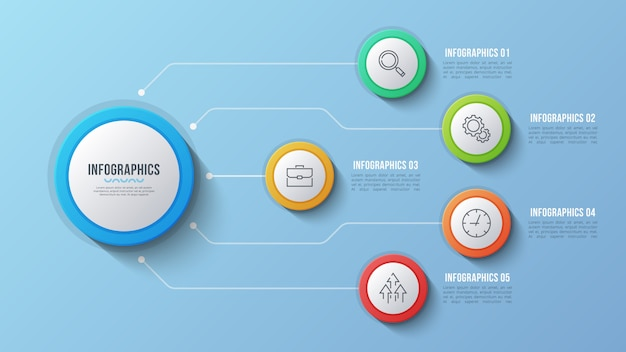 5 optionen infografik design, strukturdiagramm, presentati
